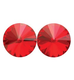 14mm Swarovski Light Siam Simple Rivoli Earrings Clip-On - Style No JESRLSI14C-6P