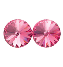 14mm Swarovski Rose Simple Rivoli Earrings Clip-On - Style No JESRROS14C-6P
