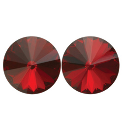 14mm Swarovski Siam Simple Rivoli Earrings Pierced - Style No JESRSIA14P-6P