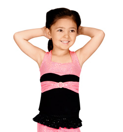 Child Sequin Dot Tank Top with Faux Belt - Style No K5086