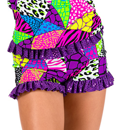 Child Animal Print Patchwork Ruffle Short - Style No K5105