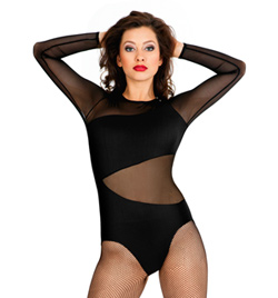 Mesh Asymmetrical Long Sleeve Leotard - Style No LS112