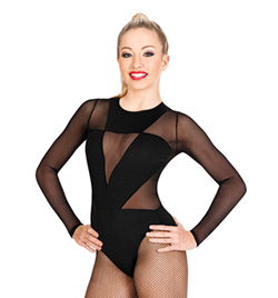 Geometric Mesh Long Sleeve Leotard - Style No LS115