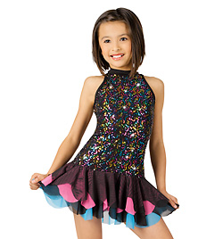 Child Multi Sequin Halter Dress with Brief  - Style No N7042C