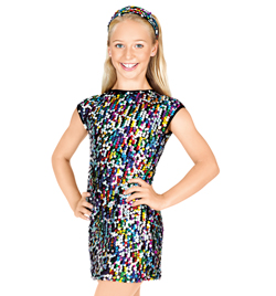 Child Open Back Cap Sleeve Sequin Dress - Style No N7103C
