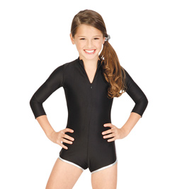 Child Zipper Front Shorty Long Sleeve Unitard - Style No N8422C
