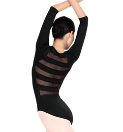 Natalie Adult 3/4 Sleeve Striped Back Leotard