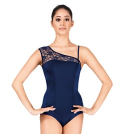 Adult Asymmetrical Lace Cap Sleeve Leotard - Style No P220