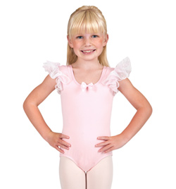 Child Flower Glitter Flutter Sleeve Leotard - Style No PB109Cx