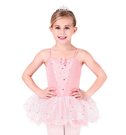 Child Camisole Dress With Glitter Flower Overlay  - Style No PB412C