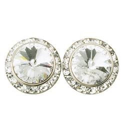 15mm Clip-On Crystal Earrings - Style No RU058