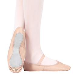 Child Professional Leather Full Sole Ballet Slipper - Style No T2000C