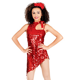 Red Hot Adult Asymmetrical Sequin Dress - Style No TH5005