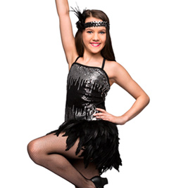 """Gatsby"" Girls Sequin & Feather Dress - Style No TH5019C"