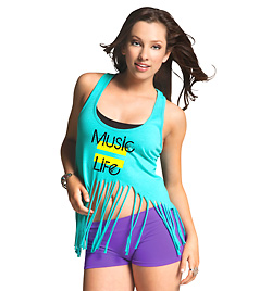 "Adult and Child ""Music = Life"" Fringe Tank Top - Style No UC4388x"