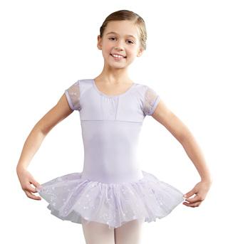 Child  Mesh Cap Sleeve Tutu Dress - Style No 10128C