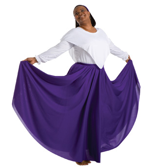 Adult Plus Size Single Layer Worship Circle Skirt - Style No 501XX