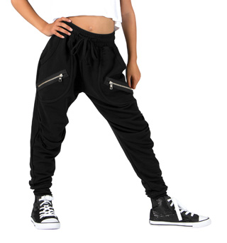 Girls Harem Sweat Pants with Zippers - Style No 81512C