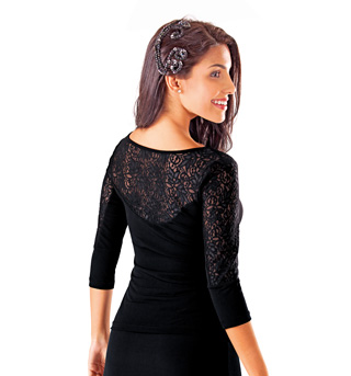 Adult 3/4 Sleeve Lace Accent Top - Style No B454