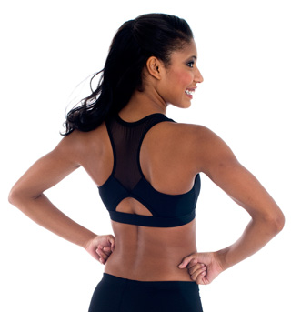 Child Exposed Mesh Racer Back Crop Top - Style No CB102C