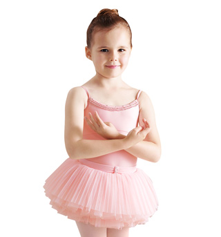Child Metallic Frill Front Neck Leotard With Diamante - Style No CL7267
