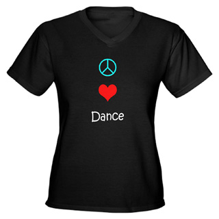 Women Peace Love Dance V-Neck T-Shirt - Style No CP408
