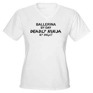 Womens Ballerina Deadly Ninja V-Neck T-Shirt - Style No CP475