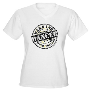 Women Warning Dancer High Voltage V-Neck T-Shirt - Style No CP678