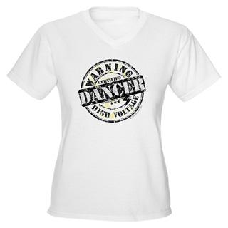 Women Warning Dancer High Voltage V-Neck T-Shirt - Style No CP678