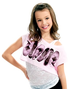 Child Short Sleeve Pointe Shoes Crop Top  - Style No DA251Cx