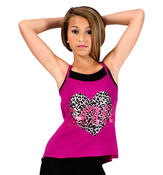 Child Cheetah Heart Camisole String Back Top - Style No FD0175C