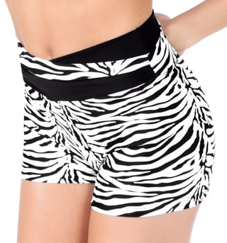Adult Zebra High V-Waist Dance Shorts - Style No FD0211