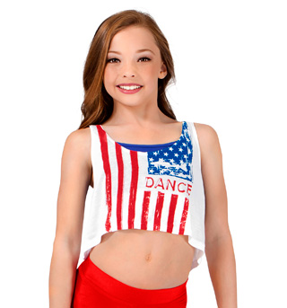 Girls Distressed American Flag Tank Top - Style No FP023C