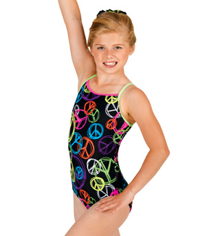 Child Gymnastic Neon Peace Camisole Leotard - Style No G528Cx