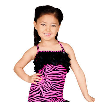 Child Pink Zebra Camisole Ruffle Top - Style No K5083