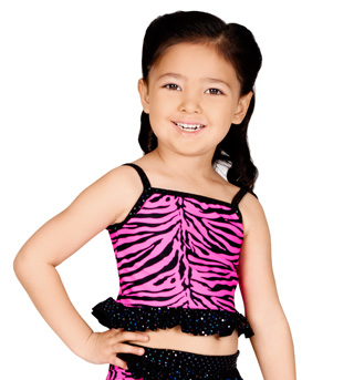 Child Pink Zebra Camisole Crop Top - Style No K5085