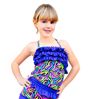 Child Neon Print Camisole Ruffle Top - Style No K5090