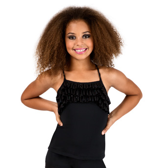 Child Black Camisole Ruffle Top - Style No K5108
