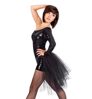Sequin Asymmetrical Shorty Unitard with Bustle - Style No LS104x