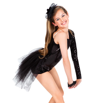 Child Sequin Asymmetrical Shorty Unitard with Bustle - Style No LS104Cx