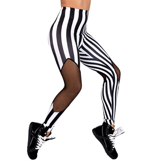 Adult Striped Leggings with Mesh Cut Outs - Style No LS128