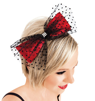 Swiss Dot Tulle & Red Satin Bow Headband - Style No LS201x
