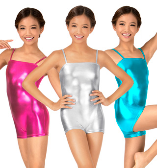 Child Metallic Camisole Shorty Unitard  - Style No N7031C