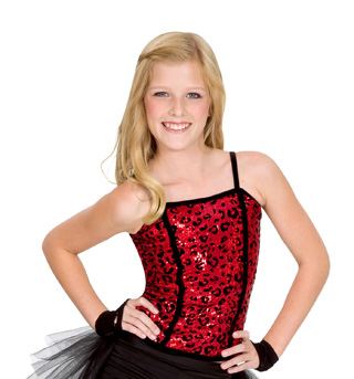 Child Leopard Sequin Corset Top  - Style No N7032Cx