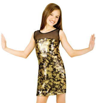Child Dusted Sequin Tank Dress with Attached Leo - Style No N7039Cx