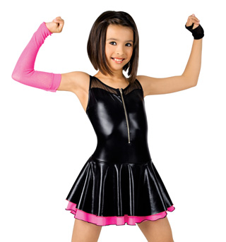 Child Pleather Zip Front Dress - Style No N7060Cx