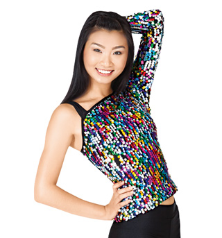 Adult One Sleeve Sequin Top - Style No N7104