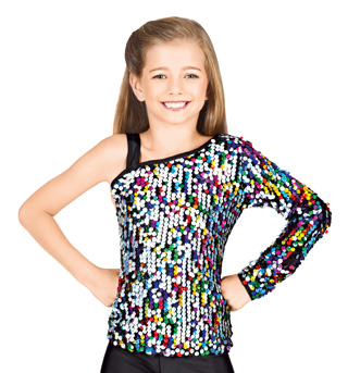 Child One Sleeve Sequin Top - Style No N7104Cx