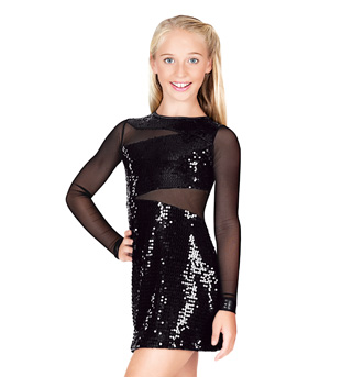 Child Sequin and Mesh Long Sleeve Dress - Style No N7106C