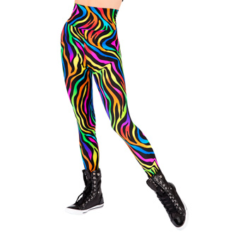 Adult Neon Zebra High Waist Leggings - Style No N7134